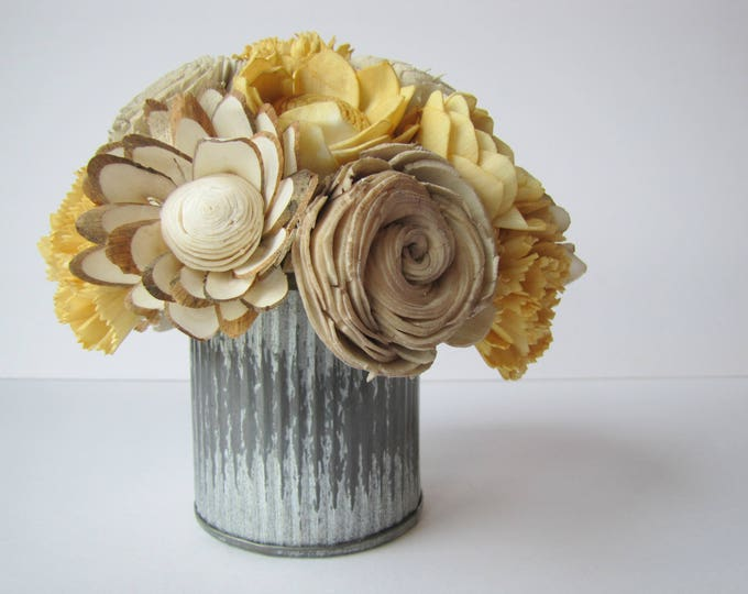 Mustard Yellow Fall Arrangement - Keepsake Sola Flower Arrangement - Mustard Yellow Flowers - Keepsake Centerpiece - Home Decor Flowers