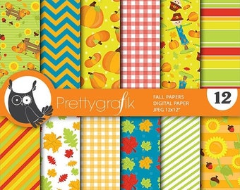 80% OFF SALE Fall harvest digital papers, commercial use, scrapbook papers, background  - PS656