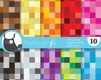 80% OFF SALE pixel mosaic digital paper, commercial use, scrapbook papers, background - PS631