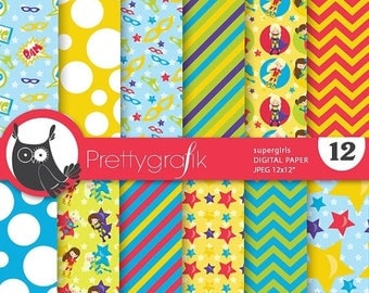 80% OFF SALE Superhero girls digital paper, commercial use, scrapbook papers, background - PS684