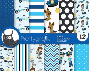 80% OFF SALE Police digital papers, Police party scrapbook papers commercial use, scrapbook papers, background - PS793