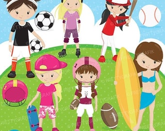 80% OFF SALE girl sports clipart commercial use, vector graphics, digital clip art, digital images - CL519