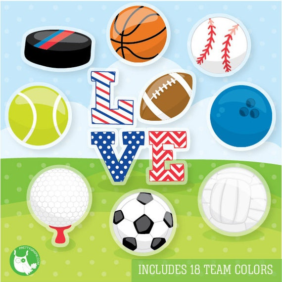 80% OFF SALE Sports love clipart commercial use, football vector graphics, fan digital clip art,  digital images - CL1089