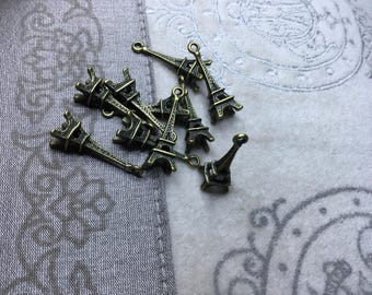 10 PCs Antique Bronze Eifel Tower Charms Pendants 24 mm