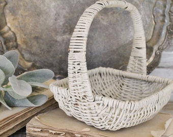 Antique Vintage Chippy White Painted Wicker Basket Bowl French Farmhouse Country Chic Shabby