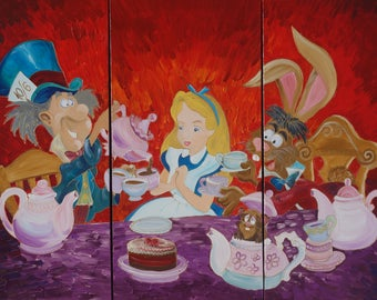 Alice in Wonderland Mad tea party paintings 120x180x4 cm orange XXL OFFICE decor F143 original abstract art by Ksavera
