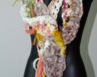 Funky Art Yarn Scarf * OOAK* Gift for Her * Soft to Skin Wool and Silk * Super Long for  Many Wraps * Free Form Crochet *Free Shipping in US