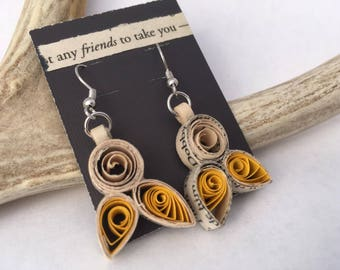 Hogwarts Hufflepuff House Quilled Paper Earrings