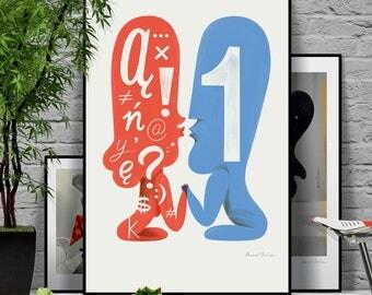 Let's talk. Man vs Woman. Face to face. Original illustration art poster giclée print signed by Paweł Jońca.