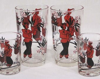 Two Pair Vintage Glasses Tumblers Juice Asian Man & Woman Flowers Red and Black