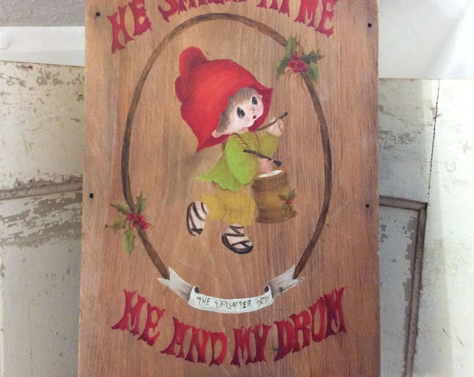 Hand painted from the 1988 mini sled little elf drummer boy, unique one of a kind Christmas decor, he smiled at me, me and my drum, holiday