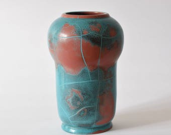 Rare! Vintage Danish - P Ibsens Enke - tall vase - Danit glaze - collectible - turquoise & red lustre - craquelee - mid century pottery