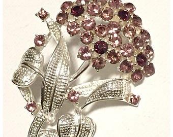 Amethyst Rhinestone and Silver Flower Brooch, Purple Lavender Rhinestone Flower Pin in Silver tone metal