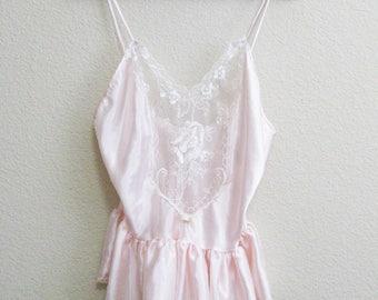 Pink Teddy Lace Babydoll Small Medium - Very Short