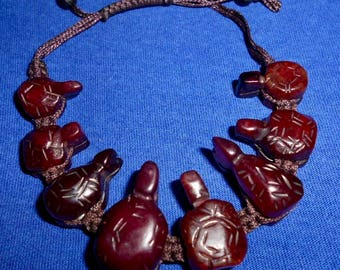Carved Red SERPENTINE TURTLE BRACELET*Adjustable 6 1/2 to 10 Inches*Turtle Totem Animal