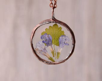 glass herbarium necklace, round terrarium pendant, boho wedding, gift for her, dried flowers jewelry