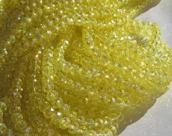 10 yellow 6 mm (42) faceted glass beads