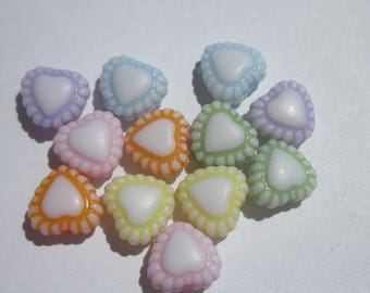 12 mix color 7mm approximately (15) Acrylic heart beads