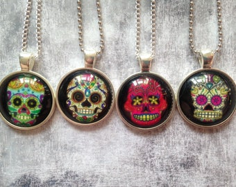 Sugar Skull Necklace, Calavera Necklace, Skull Jewelry Jewellery, gothic necklace, Halloween Necklace, Day of the dead, necklace pastel goth