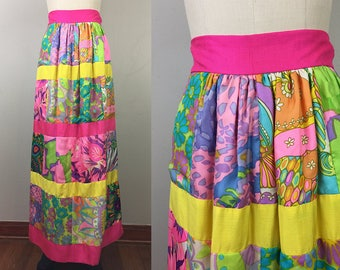Vintage 60s 70s Silk PATCHWORK Op Art Psychedelic Maxi Skirt Midge Grant M