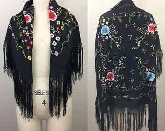 Vintage 20s 30s Piano Shawl Black Floral Embroidered Fringe Scarf