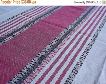 Summer sale -20% Woven Tablecloth. Linen tablecloth.Handmade tablecloth. Swedish tablecloth. Table decor.Red and black stripes.Swedish Vinta