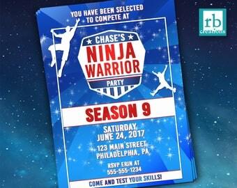 PRINTED Ninja Warrior Invitation, Ninja Warrior Party, Ninja Warrior Birthday Party, Ninja Party - Printed Party Invitations with envelopes