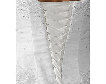 Wedding Gown Zipper Replacement Bright White Taffeta Adjustable Fit Corset Back Kit