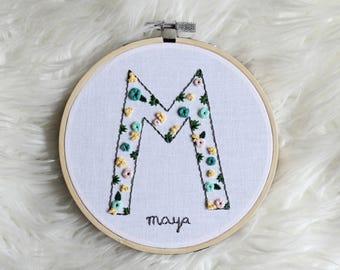"""Floral Initial """"M"""" Hoop"""