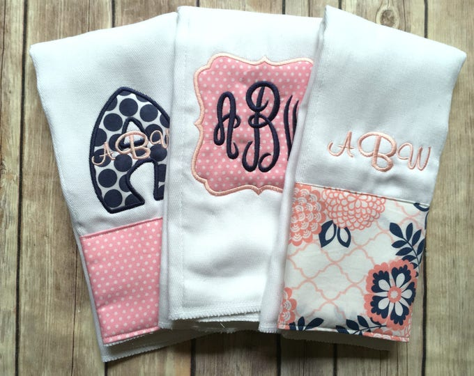 Monogrammed Burp, Burp Cloth Set, Personalized Baby Girl, Baby Shower Gift, New Baby Gift, Baby Girl, Pink Navy Baby Gift, Monogram