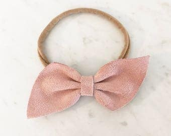 Suede Leather bow headband or hair clip- blush pink