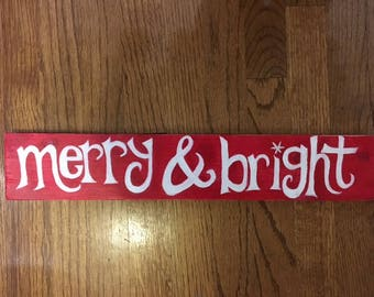 Red Merry & Bright sign