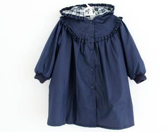 Vintage St Michael lightweight navy jacket with plaid lining, hood and frill detail, age approx 2-3 years