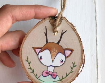 Woodland Deer Baby ornament. Little painting on birchwood.