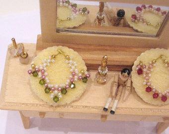 dollhouse jewellery necklace and earrings crystal 12th scale miniature lakeland artist