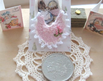 dollhouse doll bib knitted miniature 12th scale