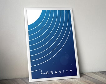 GRAVITY (Gravity Movie Poster, Gravity Poster, Gravity Wall Art, Minimalist Movie Poster, Art, Graphic Poster)