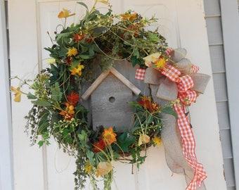 grapevine wreath birdhouse bird orange yellow wreath  burlap bow wood bird house bird silk flowers porch front door  door wall decor garden