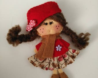 Felt brooch  Matilda Autumn Day, Felt doll, Fabric Brooch, Art Brooch, Wearable Art Jewelry, Autumn doll brooch,