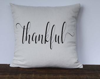 Farmhouse Thankful Pillow Cover, Thanksgiving Pillow, Fall Pillow, Decorative Couch Pillow cover