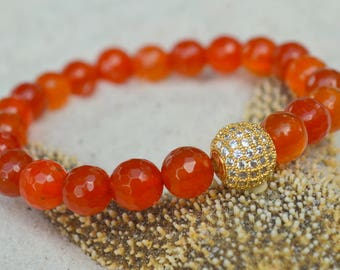 Red Agate and CZ Pave Bracelet- Gemstone Stacking Bracelet- Stacker Bracelet- Stretch Cord Design
