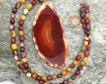 Agate and Mookaite Gemstone Necklace - Beaded Necklace, Large Focal Bead, Brown Stone Necklace, Gemstone Necklace, Natural Stone