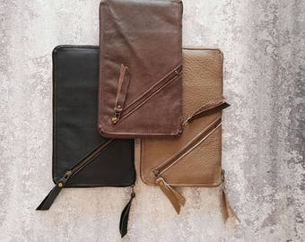 Sale, Large leather Wallet, Leather Purse, Cell Phone Wallet, Checkbook Wallet, Zip Around Wallet