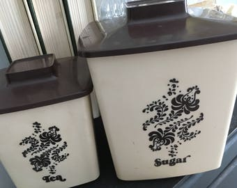 Canisters, kitchen canisters, vintage canisters, sugar canister, tea canister