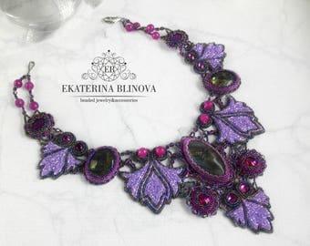 "Necklace ""Magic"", beadedwork,handmade jewelry, natural stones, embroidery, jewelry"