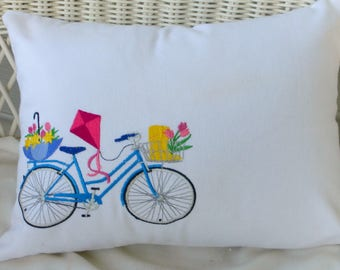 Bicycle Pillow covers - Embroidered bicycle pillow - seasonal bike pillow covers - embroidered pillows - Accent pillows - bike pillows