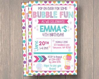 Bubble invitation etsy bubble party invitation birthday invitation bubble party invite bubble party invite summer stopboris Gallery