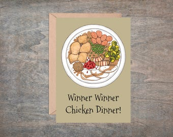 PUBG Greetings Card & Envelope - ' Winner Winner Chicken Dinner' Gamer Valentines - Player Unknown Battlegrounds Game Geek Birthday Card