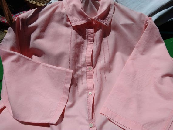Long Antique Pink Cotton Shirt Nightgown Cut Works Front Buttoned French Made Mid Arm Sleeves L / XLarge #sophieladydeparis