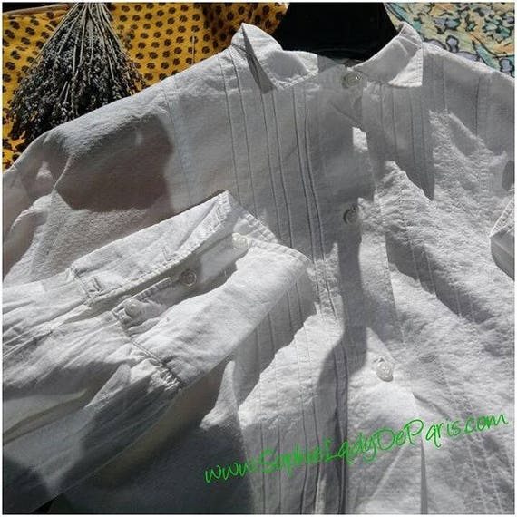 White Victorian Blouse Pleated French Cotton Long Sleeves Women Shirt Medium Large #sophieladydeparis